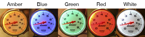 Livorsi Industrial Gauge Dial Backlight Color Choices