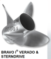 "BRAVO ONE 4 BLADE PROPELLER 1"" PROP SHAFT WITH HUB"