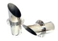 "4"" STAINLESS STEEL ANGLE CUT EXHAUST TIP WITH INTERNAL FLAPPER PER PAIR - TCM-AT400"