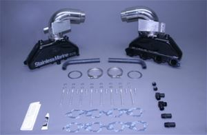 "STAINLESS MARINE BB Exhaust Manifolds with 3"" Taller than STD Stainless Risers & Brackets Kit - 01-1210010-30"