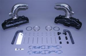 STAINLESS MARINE SBC Manifolds with 3″ Taller than STD Stainless Risers Kit - 01-2210000-30