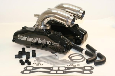 STAINLESS MARINE SBC Manifolds with Stainless Risers Kit - 01-2210000-00