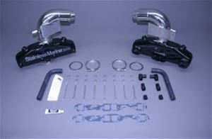"STAINLESS MARINE SBC Manifolds w/3"" Taller than STD Stainless Risers & Brackets Kit - 01-2210010-30"