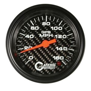 GAFFRIG 3 3/8 GPS ANALOG 160 MPH SPEEDOMETER HEAD ONLY CARBON FIBER - 4057