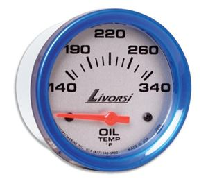 LIVORSI 2 5/8 PLUG IN OIL TEMP 140-340F MEGA RACE GAUGE OVERSIZE